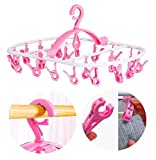 Laundry Hanger Drying Rack - Foldable Clip and Drip Hanger with 20 Pins, Clothes Drying Rack, Sock Hanger Plastic Travel Windproof Hook Diapers Baby Clothes Hanging(Pink)