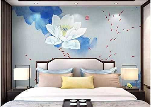 Behang muur Stickerscustom Grootte Chinese Stijl Lotus Blauw Pastel Kleur Woonkamer Sofa Tv Achtergrond Muur Schilderen Behang Wallpaper 150 * 105cm