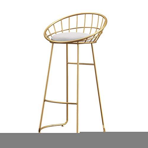Barhocker Esszimmerstuhl Sessel Höhe Stuhl Hohle Rückenlehne Metallbeine Fußstütze & Gepolsterter Sitz aus Leinenstoff für Thekenstühle im Schönheitssalon, moderne Möbel aus Eisen, 60/70/75 cm si