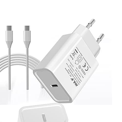 Cargador rápido USB C 20W con Cable 1M, Toma de Corriente PD 3.0 USB C Adaptador de Corriente de Pared para iPhone 12, 12 Pro, 12 Pro MAX, 12 Mini, 11Pro, X, Pad Pro, Galaxy S21, S20, A51 USW.