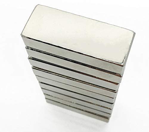 P&D, 5 magneti potenti al neodimio N35 Ni, dimensioni: 40 x 10 x 5 mm, per lavagnette, frigoriferi e altro