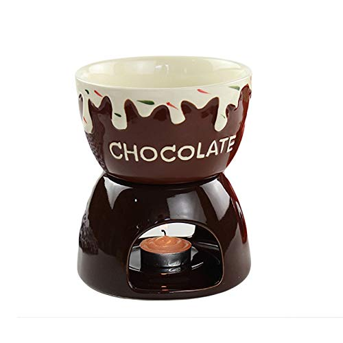 NMVB Fresa de cerámica Fondue Fondue Fondue Set de Porcelana DIY Fondue Sirviendo Set para Queso, Chocolate, Helado (Color : Brown)