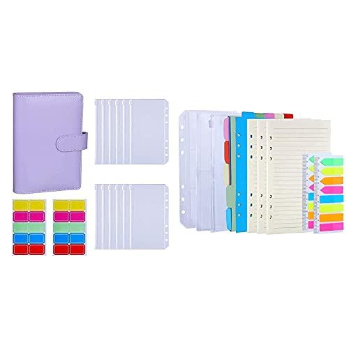 Antner A6 Binder Cash Budget Envelopes System Kit (Purple) Bundle   3 Pack A6 Refill Paper Kit