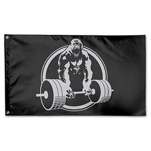 Personalized Gorilla Lifting Logo Garden Flag 3x5 ft Outdoor Garden Decorative Banner Black