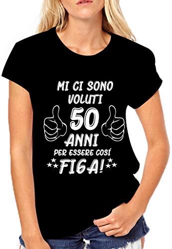 Puzzletee T-Shirt Compleanno Donna Maglietta 50° Compleanno - Mi Ci Sono Voluti 50 Anni Per Essere Così Figo - Idea Regalo