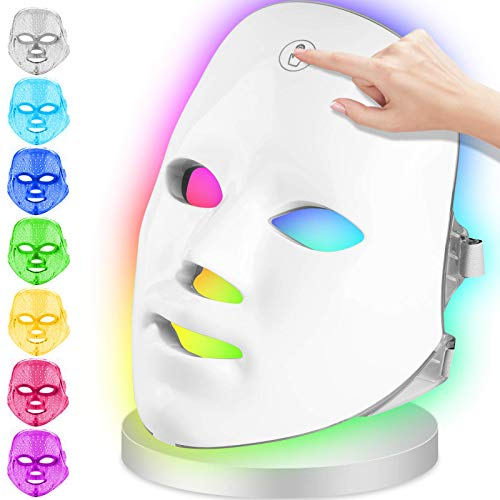 Light Therapy LED Face Mask,【Upgrade】longziming LED Photon Therapy 7...