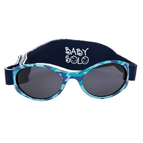 Baby Solo Babyfarer Baby Toddler Sunglasses/Infant Newborn Sunglasses (0-36 months, Matte Blue Camo Frame w/Solid Black Lens)