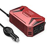 BESTEK 300Watt Pure Sine Wave Power Inverter Car Adapter DC 12V to AC 110V with 4.2A Dual Smart USB Ports (Red)