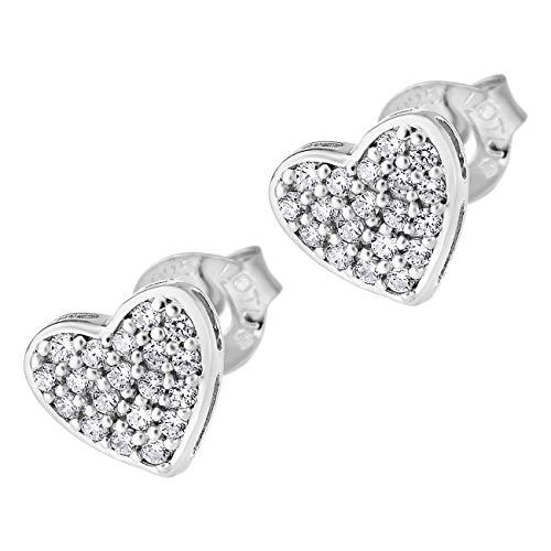 Lotus JLP1621-4-1 - Pendientes de plata de ley 925 con forma de corazón para mujer