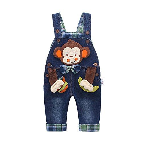 Kidscool Baby Cotton 3D Cartoon Monkey Buttons Pocket Denim Overalls Blue, 6-12 Months