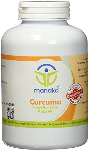 manako Curcuma vegetarische Kapseln, 300 Stück, Dose a 180 g (1 x 300 Kapseln)