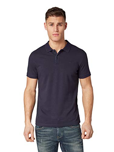 TOM TAILOR Herren Basic Polo T-Shirt, Blau (Knitted Navy 10690), 3XL
