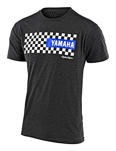 Troy Lee Designs Official Mens Yamaha Checker | Short Sleeve | T-Shirt (Charcoal Heather, XL)