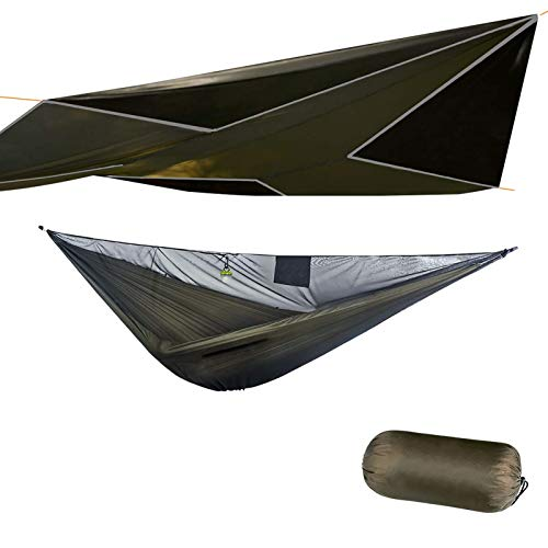 onewind Camping Hammock Tent with Rain Fly- 11'Double Hammock with Mosquito Nets, Tree Straps, Ridgeline, Compact Stuff Sack, Ideal Tents for Wild Camping