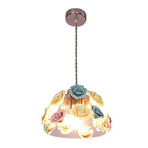 CUIRUILIAN Nordic keramische bloem glas hanglamp, E27 Classic Macaron kleur smeedijzeren plafondlamp, Art Deco voor balkon Cafe bar restaurant woonkamer werkkamer gang kroonluchter