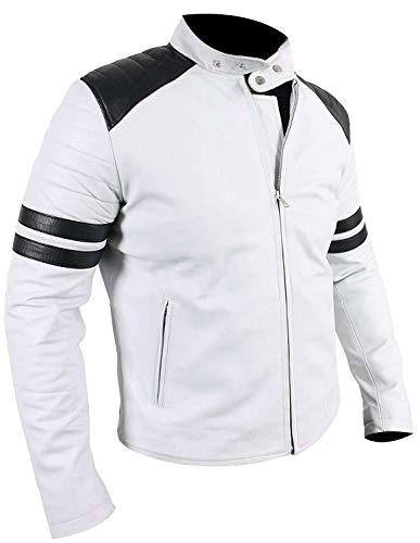 III-Fashions Men's VTG Antique Black Stripes Café Racer Quilted Shoulders Motorbike White Leather Jacket