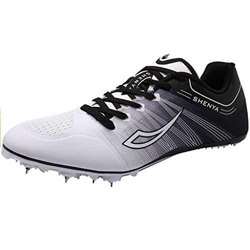 Zapatos De Pista Y Campo Para Hombres, Picos De Carrera Unisex Junior Sprint Spikes Zapatillas De Deporte De Saltos Largos Transpirable,Blanco,44