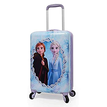 Disney Frozen II Anna Elsa Luggage Hard Side Tween Spinner Rolling Suitcase for Kids Carry-On Travel Trolley - 20 Inch