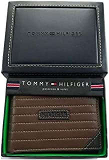 Tommy Hilfiger 31HP22X018 Men's Brown Leather Passcase Bi-Fold wallet