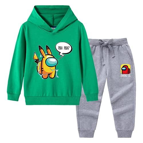EA-SDN Among Us - Juego de sudadera para niños con capucha de algodón 3D y pantalón de ejercicio, color negro/gris, anime, sudadera con capucha (verde, 100 cm)