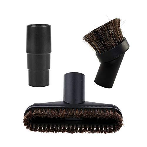 Kit de accesorios surtido, cabezal de cepillo de aspiradora, piezas de repuesto de pelo de caballo con adaptador de 32/35 mm (color: negro)