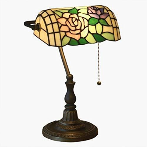 Creative Rose Rose Tiffany Style Mesa Lámpara E27, Lámpara Banquera Lámpara de mesa Baroque Vidrio, Stainera DIY Lámpara de mesa pequeña de moda, Lámpara de mesa de estilo Jugen / Mesa de noche / Sala