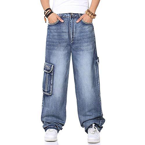 Más Tamaño Mens Denim Cargo Pantalones Vaqueros con Carga Lateral Bolsillo Hip Hop Baggy Jeans Loose Fit Pantalones Largos Tamaño Grande 40 44 46