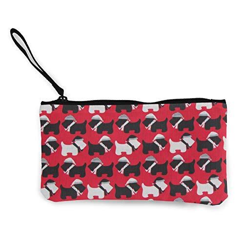 Scottie Dogs - Monedero de lona roja con cremallera, bolso pequeño, bolsa de teléfono móvil con asa