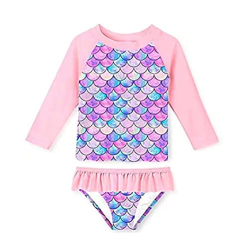 Lumiery Bikini Dividido en Escamas de Pescado para niñas, Protector Solar de Manga Larga, Traje de baño de Playa y Traje de baño con Volantes, Protector Solar (Rosa, 110(3-4y), 4_Years)