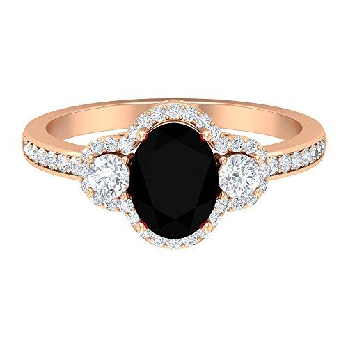 Anillo de compromiso de diamante negro creado 8x6 mm, 1/2 quilates diamantes halo anillo para mujer, 14K Oro rosa, Size:EU 57