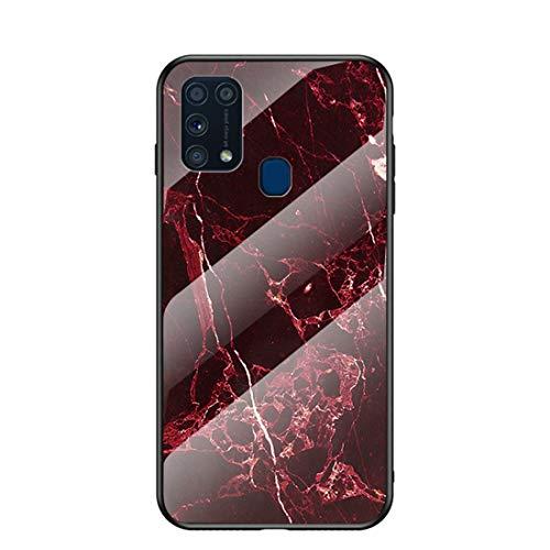 MadBee für Samsung Galaxy M31 Hülle [mit HD-Schutzfolie], Marmor Kratzfeste 9H Glas Back & TPU Silikon Rahmen und weichem Bumper Stoßabsorbierende Schutzhülle (Marmor 6)