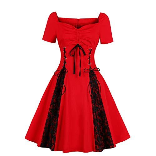 EMPERSTAR Vestido De Encaje Gótico De Halloween para Mujer Sexy Fuera del Hombro Vestidos Retro De Talla Grande para Mujer Rojo XL