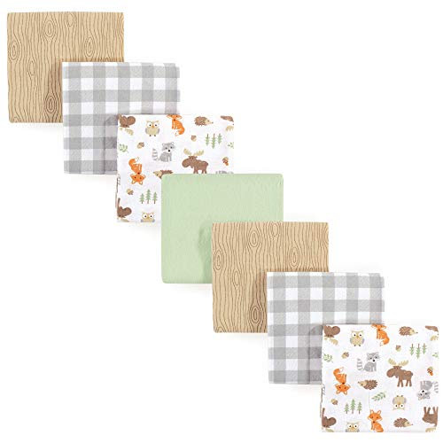Hudson Baby Unisex Baby Cotton Flannel Receiving Blankets Bundle, Woodland, One Size