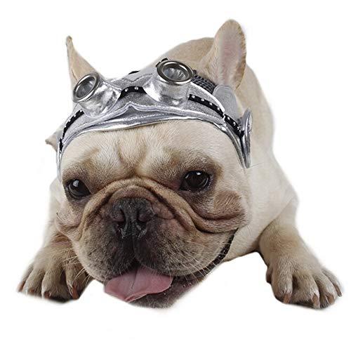 CheeseandU Pet Aviator Hat, Vintage Pet Pilot Cap Costume Adjustablle Dog Pilot Hat with Ear Holes Ideal for French Bulldog English Bulldog Halloween Pet Costume Dressup Photo(Silver)