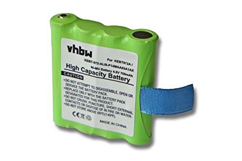 vhbw Baterías NiMH 700mAh (4.8V) para Dispositivos de Radio Motorola TLKR T3, T4, T5, T6, T7, T8, T50. reemplaza IXNN4002B, LIS-P14MAA03A1AX.
