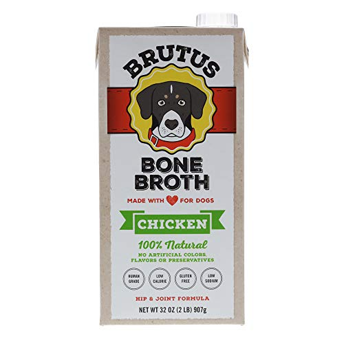 Brutus Bone Broth for Dogs 64 oz | 100% Natural | Made in USA | Glucosamine & Chondroitin for Healthy Joints | Human Grade Ingredients | Hydrating Dog Food Topper for All Ages (Chicken, 2-Pack)