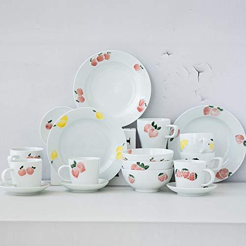 Vajilla de alta gama, vajilla de cerámica, vajilla de porcelana de 28 piezas hecha a mano de la serie |Cuencos / platos de cereales con patrón de frutas / taza de café y platillo para regalos de boda