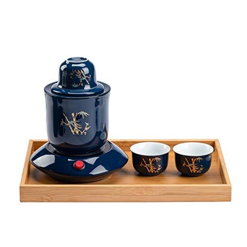 LTLWSH - Juego de saké japonés con más cálido, 7 piezas de cerámica, 3 tazas, calentador, tarro de sake y calentador de tazas, bambú, 1 tarro de 2 copas.