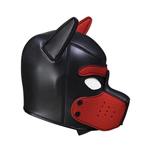 AmaMary Hundemaske,Weiche Latex Petplay Hundemaske mit Ohren Welpenmaske Hunde Masken für Cosplay Party Maskerade (rot)
