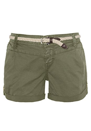 Eight2Nine Damen Chino Shorts Hose mit Flecht-Gürtel Middle-Green M
