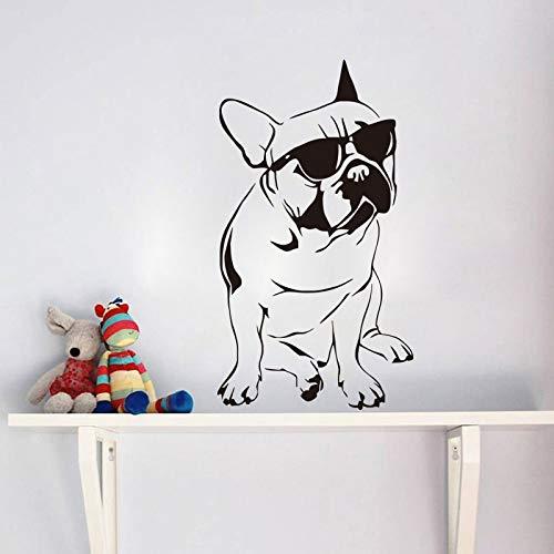Bulldog Mit Brille Wandaufkleber Steuern Dekor Wohnzimmer Cool Dog Wandtattoos Tiere 44X79cm