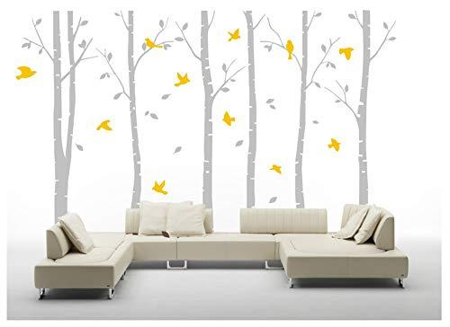 BDECOLL 6 Wandaufkleber Birke weiß Wandaufkleber Baum Kinderzimmer Big Baum Wand Aufkleber für Wohnzimmer (Grey)