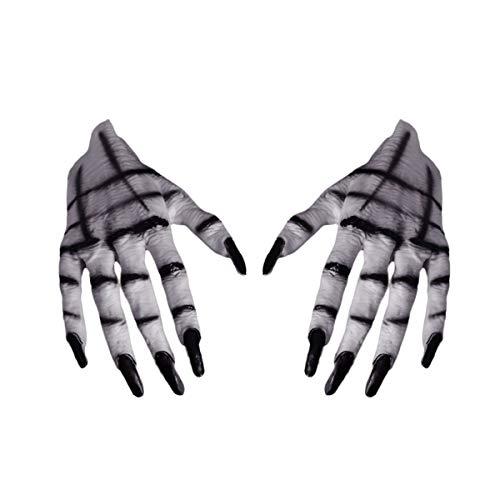 Mescara Halloween Handschuhe Damen Cosplay Kostüm - Ghost Teufel Kostüme mit Lange Fingernägel Partyzubehör für Karneval Weihnachten Ostern (weiß)