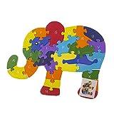 Byoeko Puzzle Figuras de Madera con numeros y abecedario (Elefante)