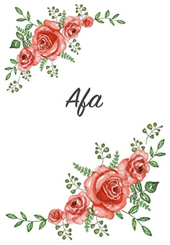 Afa: Personalized Notebook with Flowers and First Name – Floral Cover (Red Rose Blooms). College Ruled (Narrow Lined) Journal for School Notes, Diary Writing, Journaling. Composition Book Size