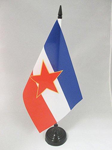 AZ FLAG TISCHFLAGGE JUGOSLAWIEN 21x14cm - JUGOSLAWISCHE TISCHFAHNE 14 x 21 cm - flaggen