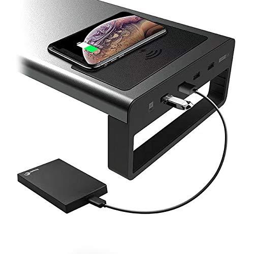 VIVOCFan aluminium monitorstandaard, ergonomische laptopstandaard riser, USB 3.0-hub snel opladen coumputer stand riser, voor Magic Keyboard muis organizer lade 52x20x9cm(20x8x4inch) Draadloos opladen + 4 USB 3.0-poorten