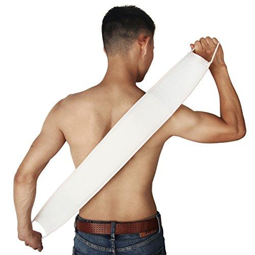 Moonmini, fascia esfoliante su due lati in luffa naturale 100% per la schiena, resistente, taglia L, con maniglie lunghe, spugna da bagno per acne, eczema e cellule morte, per uomo e per donna