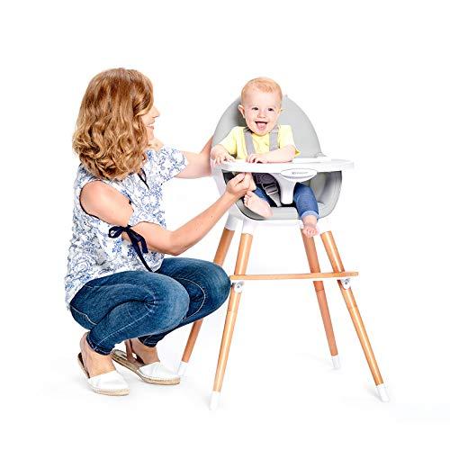 Kinderkraft Chaise Haute Bébé FINI, 2 en 1, Évolutive, Réglable, Lavable, Gris