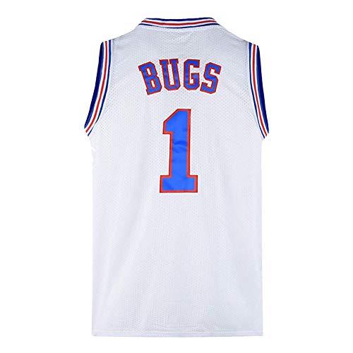 Bugs # 1 Space Jam Movie Camiseta de Baloncesto para Hombre, Camiseta de Baloncesto Traje de Entrenamiento Chaleco Camiseta Deportiva, Ropa de Hip Hop de los 90 para Fiesta (S-3XL)-White-S